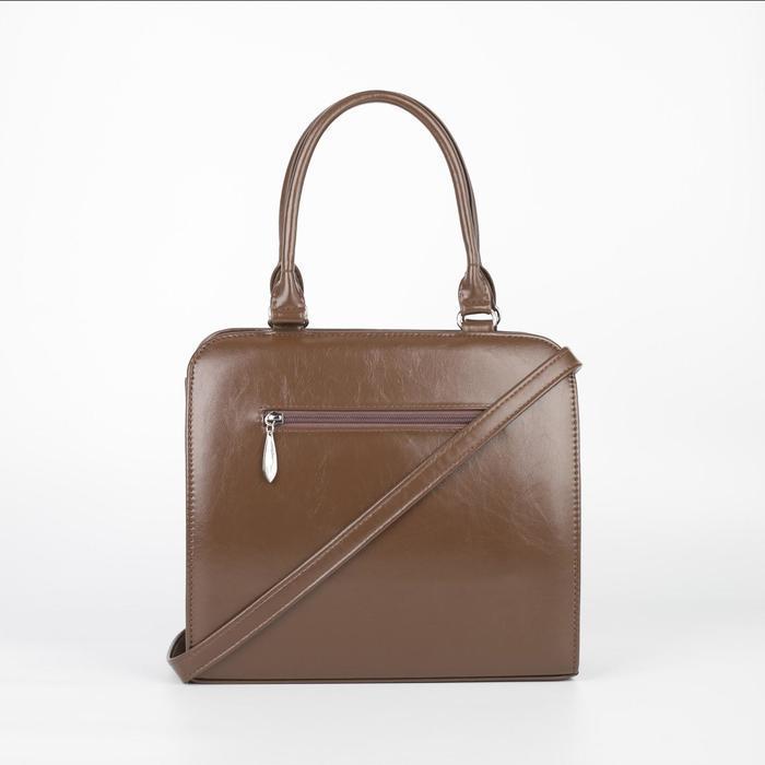 Сумка женская, отдел на молнии, наружный карман, длинный ремень, цвет коричневый - фото 2