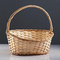 Корзина 'Новая', дно34x24 см, верх43x37 см, H14/19/41 см, ручное плетение, шпон, лоза