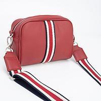 Сумка кросс-боди Медведково, отдел на молнии, наружный карман, длинный ремень, цвет тёмно-красный