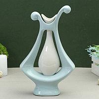 Ваза керамика абстракция 19,5*32 см кувшин в цветке голубой