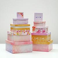 Набор коробок 10 в 1 'Цветы', 25,5 х 25,5 х 13 - 7 х 7 х 4 см