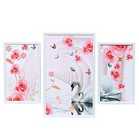 Картина модульная 'Лебеди в цветочной арке' 29*49 - 1шт., 20*35 - 2шт., 50х70 см