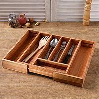 Ящик для столовых приборов раздвижной в сборе 30,4x34x6 см в разборе 44,4x35x6 см бук