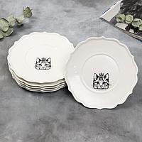 Набор тарелок 'Кошка', 20 см, белые, 6 шт