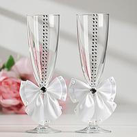 Набор свадебных бокалов 'Элит', с бантом и стразами, белые