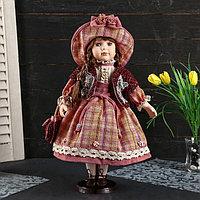 Кукла коллекционная керамика 'Женечка в платье в клеточку, в шляпке и с сумочкой' 40 см