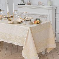 Столовый набор 'Этель' (скатерть 150х150 см, салфетки 45х45 см - 4 шт.) цвет шампань, хл. с ВМГО