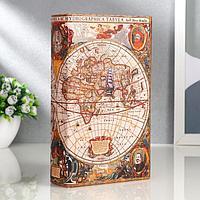 Сейф-книга дерево 'Морской путь, карта' кожзам 21х13х5 см