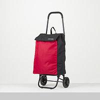Сумка-тележка, отдел на шнуре, наружный карман, колёса 16,5 см, нагрузка до 40 кг, цвет чёрный/красный
