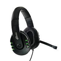 Наушники Ritmix RH-555M Gaming, игровые, полноразмерные, микрофон, 3.5 мм, 1.8 м, черные