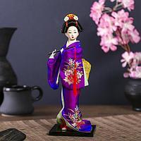 Кукла коллекционная 'Японка в фиолетовом кимоно с флейтой' 25х9,5х9,5 см