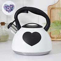 Чайник со свистком Доляна 'Сердце', 3 л, с индикатором нагрева