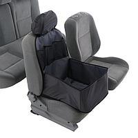 Автогамак для перевозки животных на переднее сидение с дополнительными карманами, серый, 3 слоя с ПВХ600,