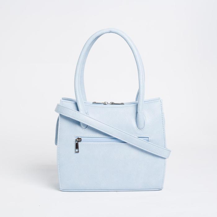 Сумка женская, отдел на молнии, наружный карман, длинный ремень, цвет голубой - фото 2