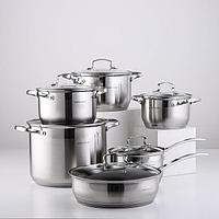 Набор посуды, 6 предметов кастрюли 2,1/2,9/3,9/8 л, ковш 2,1 л, сковорода d24 см