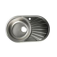 Мойка кухонная 'Владикс', врезная, с сифоном, 74х45 см, левая, нержавеющая сталь 0.6 мм