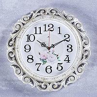 Часы настенные, серия Цветы, 'Хостон', белое золото 40.5 см