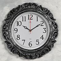 Часы настенные, серия Ажур d40.5 см, чёрные с серебром, плавный ход