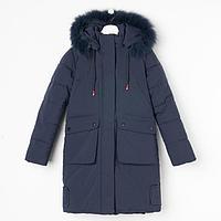 Пальто для девочки, цвет синий, рост 158