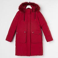 Пальто для девочки, цвет бордовый, рост 158
