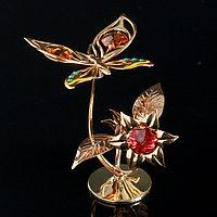 Сувенир с кристаллами Swarovski 'Бабочка на орхидее' 10х7,8 см
