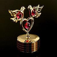 Музыкальный сувенир с кристаллами Swarovski 'Голуби с сердцем' 9,5х8 см