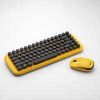 Комплект клавиатура и мышь Gembird KBS-9000, беспровод, мембран, 1000 dpi, USB, жёлтый