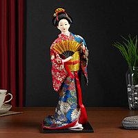 Кукла коллекционная 'Гейша в шелковом кимоно с веером'