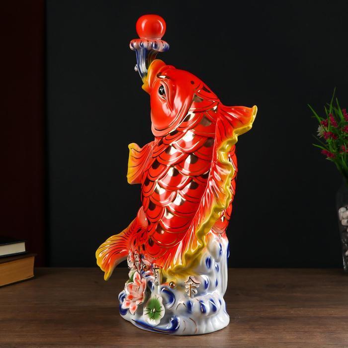 Сувенир керамика нэцке 'Золотой карп с шаром' 46х17х29 см - фото 4