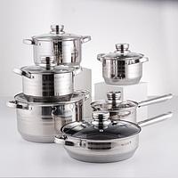 Набор посуды, 6 предметов кастрюли d16 см, d18 см, d20 см, d24 см, ковш d16 см, сковорода d24 см, индукция