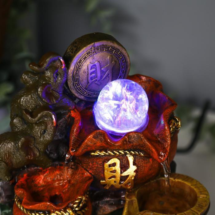 Фонтан настольный от сети, подсветка 'Слоны и китайская монета' 20,5х14х11 см - фото 5