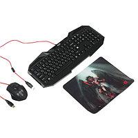 Игровой набор Defender Anger MKP-019 RU, клавиатура+мышь+коврик, проводной,мембранный,черный