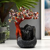 Фонтан настольный от сети, подсветка 'Дерево с самоцветами и водопад' 180 камней 26х19х12 см 53921