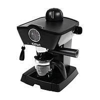 Кофеварка Kitfort КТ-706, рожковая, 800 Вт, 0.25 л, капучинатор, чёрная