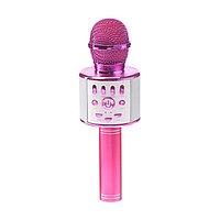 Микрофон для караоке LuazON LZZ-70, 5 Вт, 1800 мАч, коррекция голоса, подсветка, розовый