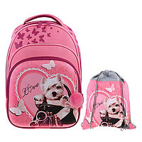 Рюкзак каркасный Luris Джерри 3 38x28x18 см, мешок для обуви, для девочки, 'Собачка'