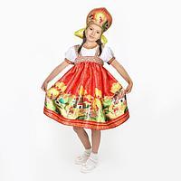 Карнавальный костюм 'Русские сказки', платье-сарафан, кокошник, р. 30, рост 110-116 см