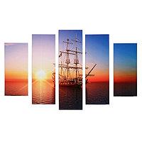Модульная картина 'Корабль в море' (2-23х52 2-24х70 1-24х80) 120х80см