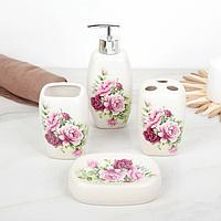 Набор аксессуаров для ванной комнаты 'Розы', 4 предмета (дозатор 300 мл, мыльница, 2 стакана)