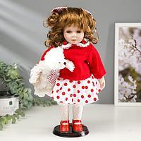 Кукла коллекционная керамика 'Малышка Аля в красном свитере и юбке в горох, с мишкой'30,5 см