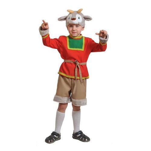 Карнавальный костюм 'Серенький козлик', маска, рубаха, пояс, шорты, рост 98-128 см