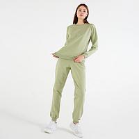 Костюм женский (свитшот, брюки) цвет фисташковый, размер 52 (комплект из 2 шт.)
