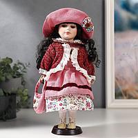 Кукла коллекционная керамика 'Даша в коралловом платье и бордовом джемпере' 30 см