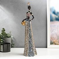 Сувенир полистоун 'Африканка с кувшином в наряде под зебру' 45х13,8х10,5 см