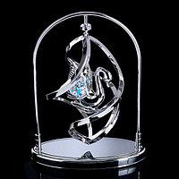 Сувенир с кристаллами Swarovski 'Лебедь' хром 13,8х10,2 см