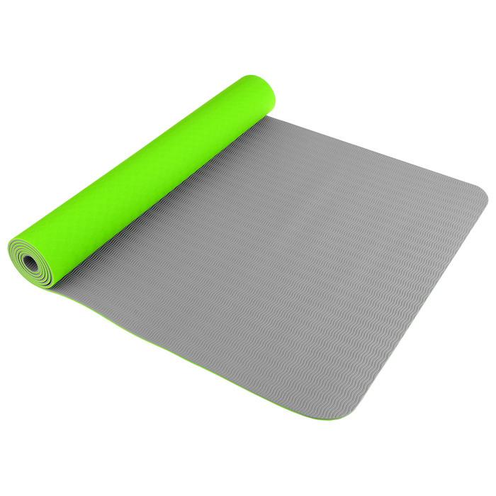Коврик для йоги TORRES Comfort 4, TPE, 173 x 61 x 4 мм, нескользящее покрытие, цвет зелёный/серый - фото 1