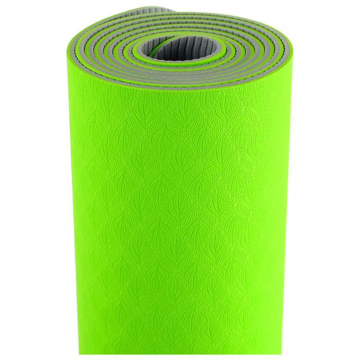Коврик для йоги TORRES Comfort 4, TPE, 173 x 61 x 4 мм, нескользящее покрытие, цвет зелёный/серый - фото 3