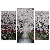 Картина модульная на подрамнике 'Яблони в цвету' 2шт-25х50, 1шт-30х60 60*80 см