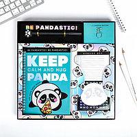 Набор PANDA, ежедневник A5 40 листов, планинг, ручка, скрепки, стикеры