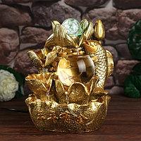 Фонтан настольный от сети, подсветка 'Золотой карп и лотосы' золото 26х18х17 см